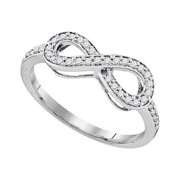 10kt White Gold Women's Round Pave-set Diamond Infinity Ring 1/5 Cttw - FREE Shipping (US/CAN)