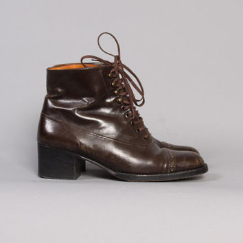 1980s Ankle BOOTS / Dark Brown Robert Clergerie Brogue Lace-Ups, 5.5-6