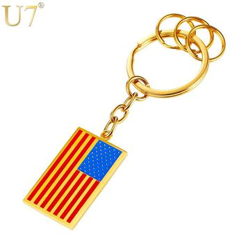 U7 Brand US Flag Charm Keychain For Men/Women Gift Gold Color Stainless Steel American Symbol Key Ring Chain 2017 New K017