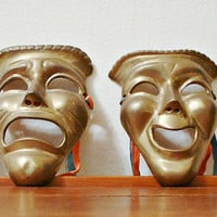 Vintage Comedy & Tragedy Masks Metal Wall Art Drama Theater Performing Arts Theatre Faces Brass