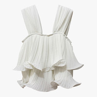 White Ruffle Sleeveless Blouse