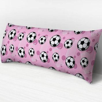 Pink Soccer Body Pillow -  Soccer Ball and Goal Pattern on Pink - 20 x 54 Body Pillow or Body Pillow Cover - Made to Order