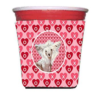 Chinese Crested Valentine's Love and Hearts Red Solo Cup Beverage Insulator Hugger