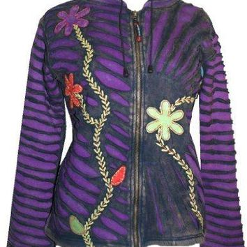 Patch Funky Fleece Lined Bohemian Razor Cut Embroidered Jacket
