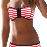 SOTW Luxury Zip-up Polka Dot Neoprene 2 Piece Bikini Set Swimsuit Swimwear, Blue Stripe, L