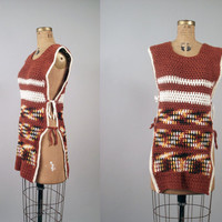 $28.00 1970s Sweater Vest / Chunky Knit Earth Tone by FemaleHysteria