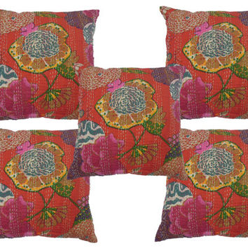 Indian Kantha cushions in Red , Handmade Kantha Pillow , Cushions Set 5pc, Decorative pillow, Kantha Throw Pillow , Wholesale Lot