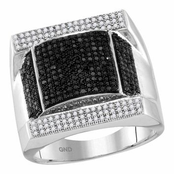 10kt White Gold Men's Round Black Color Enhanced Diamond Domed Rectangle Cluster Ring 1-1/12 Cttw - FREE Shipping (US/CAN)