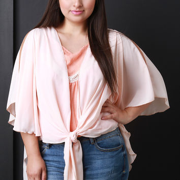 Dolman Sleeve Front Tie High-Low Top