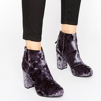 Office Annie Grey Velvet Heeled Ankle Boots at asos.com