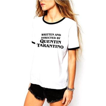Quentin Tarantino Tumblr T-Shirt Tarantion Clothes Tee Dusk Til Dawn Graphic Written and Directed Outfits Tops Ringer T Shirts