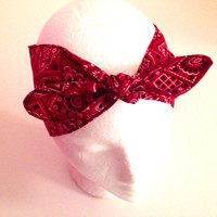We can do it  Red Pinup headband Polka dots head band 40's Style Retro bandana Dolly Bow LIMITED EDITION