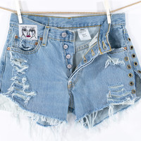 LEVI'S Shorts Denim Grommet Eyelet Cutoff Tattered Blue 501 Distressed Highwaist High Cut Jean Shorts
