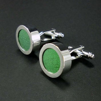 Emerald green silk mens cufflinks - 12th or 4th anniversary cuff link set – silk anniversary gift – wedding cufflinks – mans accessories
