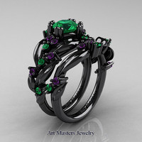 Nature Classic 14K Black Gold 1.0 Ct Emerald Amethyst Leaf and Vine Engagement Ring Wedding Band Set R340S-14KBGAMEM