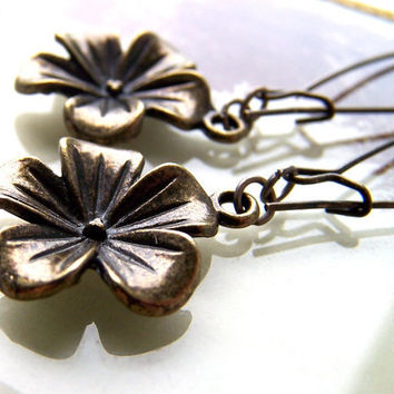 Brass Flower Earrings Dangle Charm Quirky Metal Summer