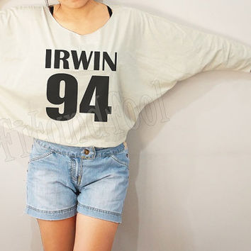 Ashton Irwin 94 Shirts 5 Seconds of Summer Shirts Ashton Irwin Shirt Bat Sleeve Crop Long Sleeve Oversized Sweatshirt Women Shirt -FREE SIZE
