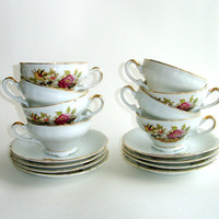 Eight Vintage Teacups and Saucers, Porcelain or China, Matched Set of 8, Gold Gilt Trim, White with Pink Yellow Flowers Tea Cups, Tea Party