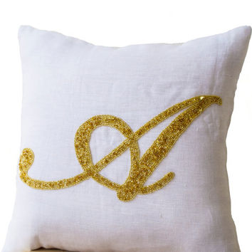 Decorative pillow- Customized monogram pillow -Gold Sequin Monogram Throw pillows - white linen pillow cover -18x18 gift -Cursive Initial