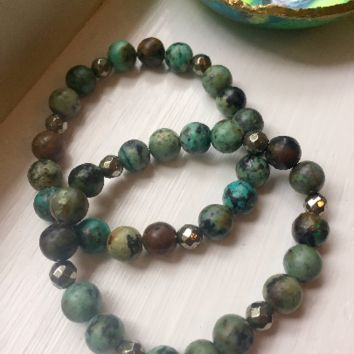 African Turquoise and Pyrite Beaded Bracelet set, Beaded Bracelet set, Boho Bracelets