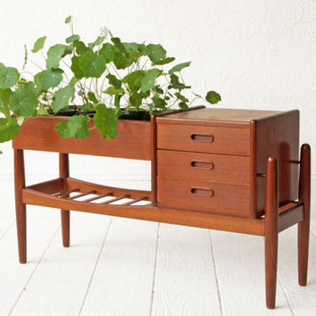 Arne Vodder Danish Modern Teak Planter with Drawers