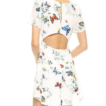 White Butterfly Print Back Cutout Skater Dress