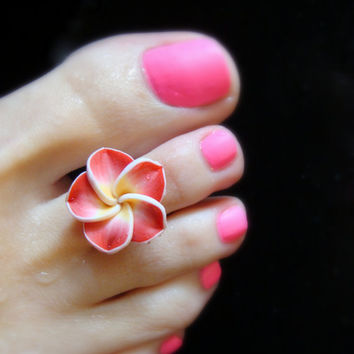 Toe Ring - Ravishing Red Polymer Flower - Stretch Bead Toe Ring