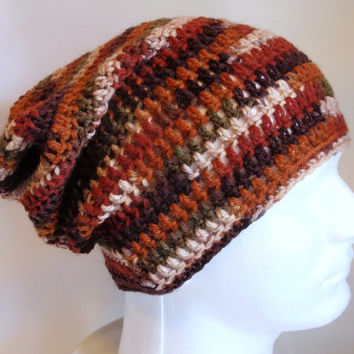 Mens - Women - Slouchy Hat Beanie - Multicolored Skullcap Crocheted - Wool Brown Rust Cream -Gift for Him - Gift for Her - Boyfriend - Gamer