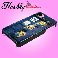 Minion Hanging in tardis dr who box - iPhone 4/4s/5 Case - Samsung Galaxy S2/S3/S4 Case - Black or White