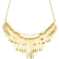 Gold Curved Bars Statement Bib Necklace by Charlotte Russe