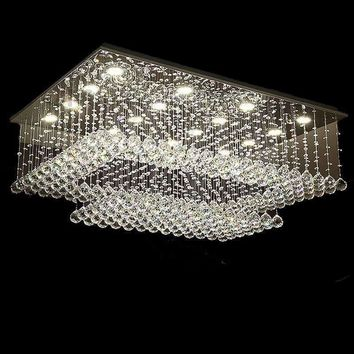 new design rectangular crystal ceiling chandelier lighting modern living room lights AC110-240V LED light fixtures