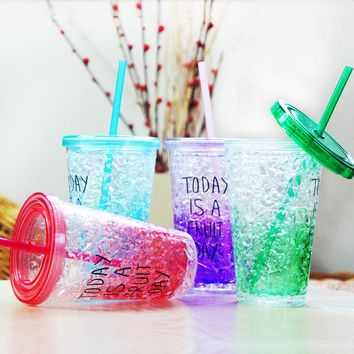 Fashion Water Bottle Plastic Portable With Straw My Creative Bottle For Sports Outdoor School My Creative Bottle