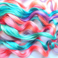 Pastel Candy Human Hair Extensions, Clip In Hair Extensions, Pastel Hair Extensions, Cotton Candy Hair Extensions, Ombre Hair, Pastel Hair