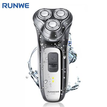 RUNWE RS980 Safety Switch Lock Electric Shaver For Men Personal Care Razor Washable 3D Floating Rotary Rechargeable Razor