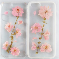 Pink Real Flower Phone Cases