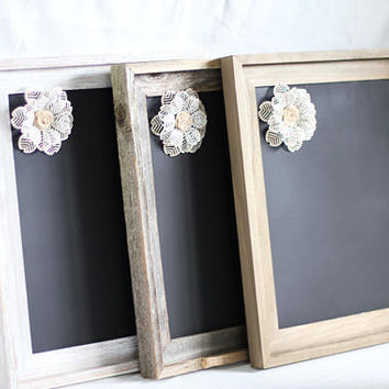 Wood Framed Magnetic Chalkboard --- Barnwood - White Wash - Plain  * 11 x 14