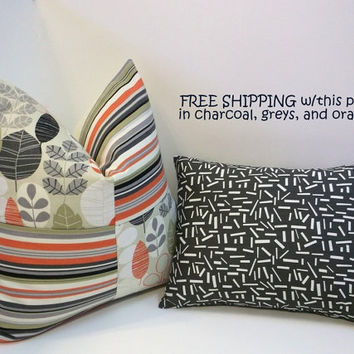 FREE SHIPPING-Decorative throw pillows, charcoal grey,  orange accents on neutrals, handmade home decor