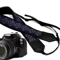 Camera Strap. Silvery Gray and Dark Blue Camera Strap. Camera accessories. Photgrapfer gift. Violet.
