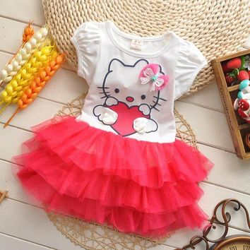 2016 summer style girls dress Hello kitty cartoon KT wings tutu dress bow veil Kids love children's clothing free shipping