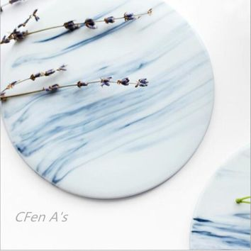 CFen A's Marble patten Ceramic Coasters Cup Pad Mat Heat insulation Table bowl mat Coffee Tea Cup drink coasters ZAKKA