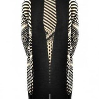 White and Black Geometric Aztec Print Open Cardigan