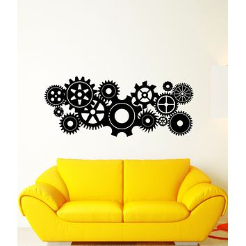 Vinyl Wall Decal Gears Cogwheel Mechanism Home Office Decoration Stickers (3206ig)