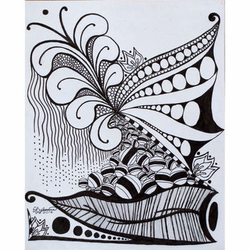 Nature Zen Doodle - Professional Prints of Ink Fine Art Drawing