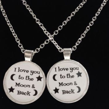 2 Necklaces I Love You To The Moon And Back Couple's Saying Quote Best Friend