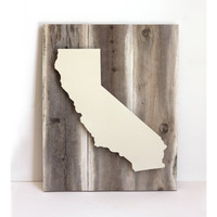 California Dreamin' Art on Reclaimed Wood - Cream - Dimensional Art