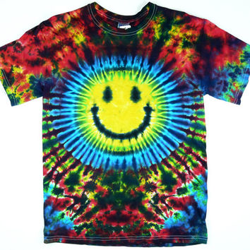 Tie Dye T Shirt, Adult, Smiley Face, Eco-friendly