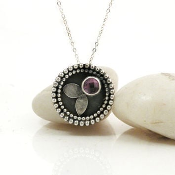 Amethyst Necklace Sterling Silver Medallion Pendant Pink Gemstone Rustic Jewelry - Medallion Necklace