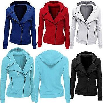 Women Plain Zipper Zip Top Hoodie Hooded Sweatshirt Coat Jacket Plazer Pullover