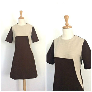 Vintage Mod 60s Dress - Go Go Dress - mini dress - two tone - shift - 1960s dress - M