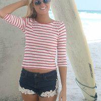 Drive Me Crazy Red and White Stripe Ribbed Quarter Length Sleeve Crop Top